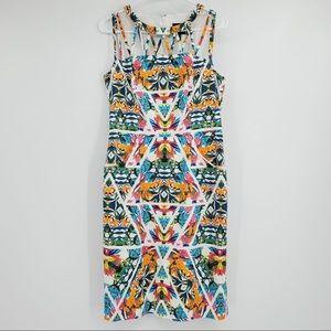 Adrianna Papell Sheath Dress Sleeveless Pockets